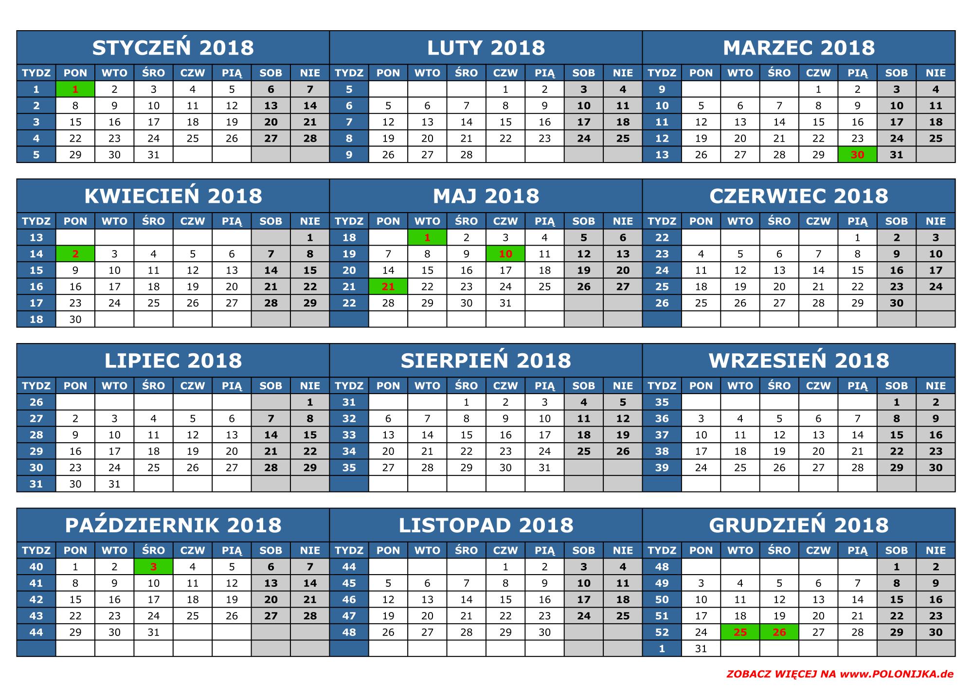 Kalendarz 2018 (Niemcy, Land: Baden-Württemberg / Badenia